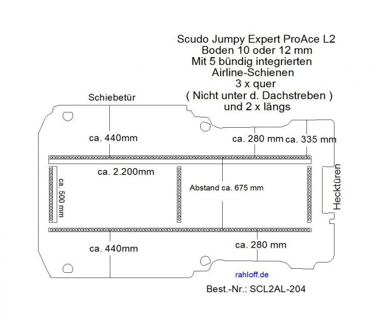 Scudo Expert Jumpy ProAce Boden 5 integr. Airlineschienen L2 204