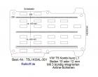 T5 / T6 Kombi Boden mit 3 Ladungssicherungs- Schienen L1 - T301